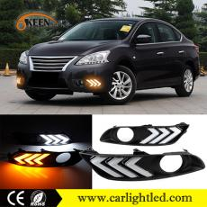 KEEN 12V DC Waterproof Led Daytime Running Light Car Fog Lamp for Nissan Sentra/Sylphy 2012-2015 with Amber Turn signal
