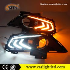 KEEN Waterproof White Blue Amber Turn Signal Led Daytime Running Lights Car DRL Fog Lamp for Ford Fusion 2013-2016