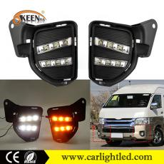 KEEN 12V for Toyota Hiace 2014-2016 Car LED DRL Daytime Running Fog Lamp with Amber Turn Signal Function