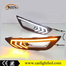 KEEN DC 12V 10W Car Led DRL Daylight Fog Lamp for Ford Focus 2015-2016 White Amber Turn Signal Light