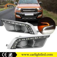 KEEN DC 12V White & Amber Led Daytime running Light Car Led Headlamp DRL for Ford Ranger 2015-2016